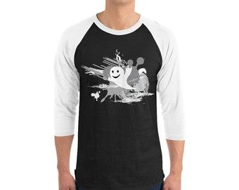 Halloween Art in Spooky Sign Language 3/4 sleeve raglan Shirt