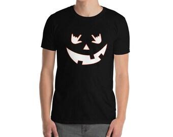 Halloween I Love You Eyes Pumpkin Shadow in Sign Language T-shirt