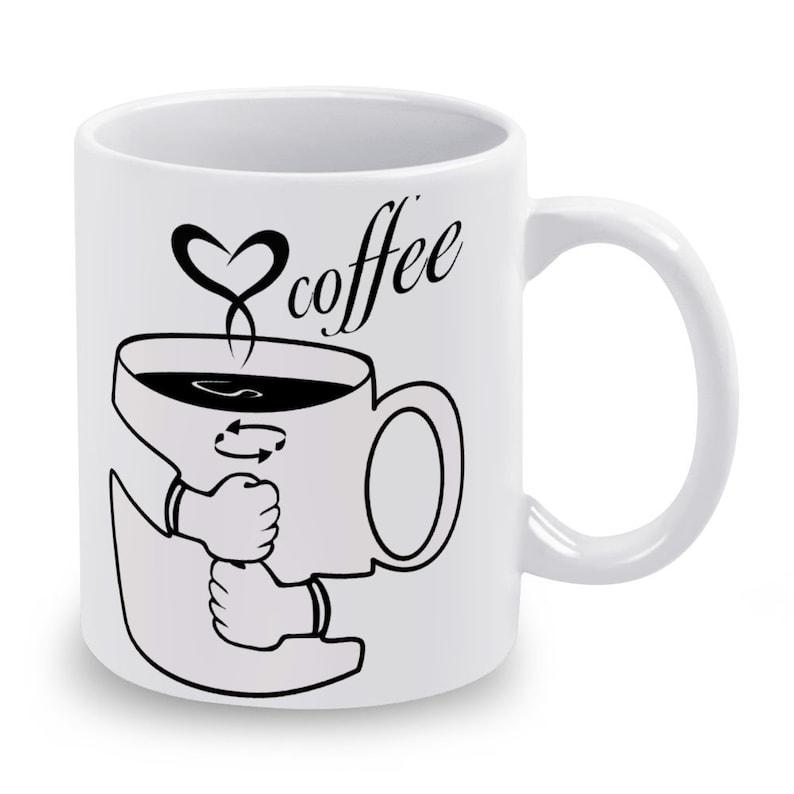 Coffee in Sign Language Ceramic Mug 11 Oz 2 Sides image 0