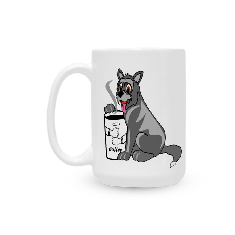 Dog in a Coffee Sign Language Ceramic White Mug 15 Oz image 0