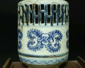 Chinese antique Qing dynasty Qianlong style blue and white porcelain censer.Chinese antiques censer,Ornament,ceramic vintage