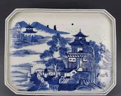 Chinese antique porcelain Qing dynasty Kangxi style blue and white porcelain plate dish,Chinese antiques plate,Ornament,ceramic collection
