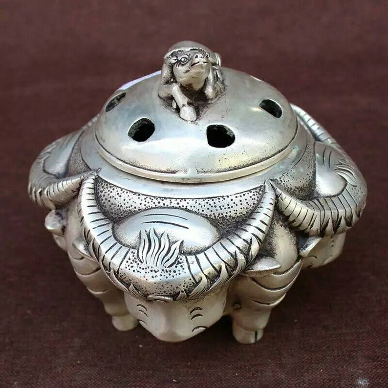 Chinese antique Ming dynasty Xuandelu style white copper silver plating censer,Xuande incense burner,vintage collectable collection Xuandelu