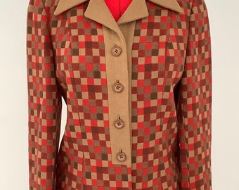 Fabulous vintage Mornessa wool ladies mod skirt suit 1960s beige and red checked Made in England