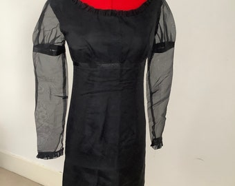 Sixties 'Julian Rhodes' genuine vintage silk LBD mini party dress evening cocktail mod 1960s carnaby UK Size 4 (US Size 0)