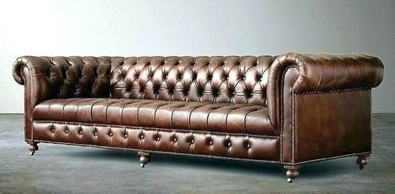 Chesterfield 4 Seater Upholstery Couch Antique Style Leather Textile Fabric Sofa Couches