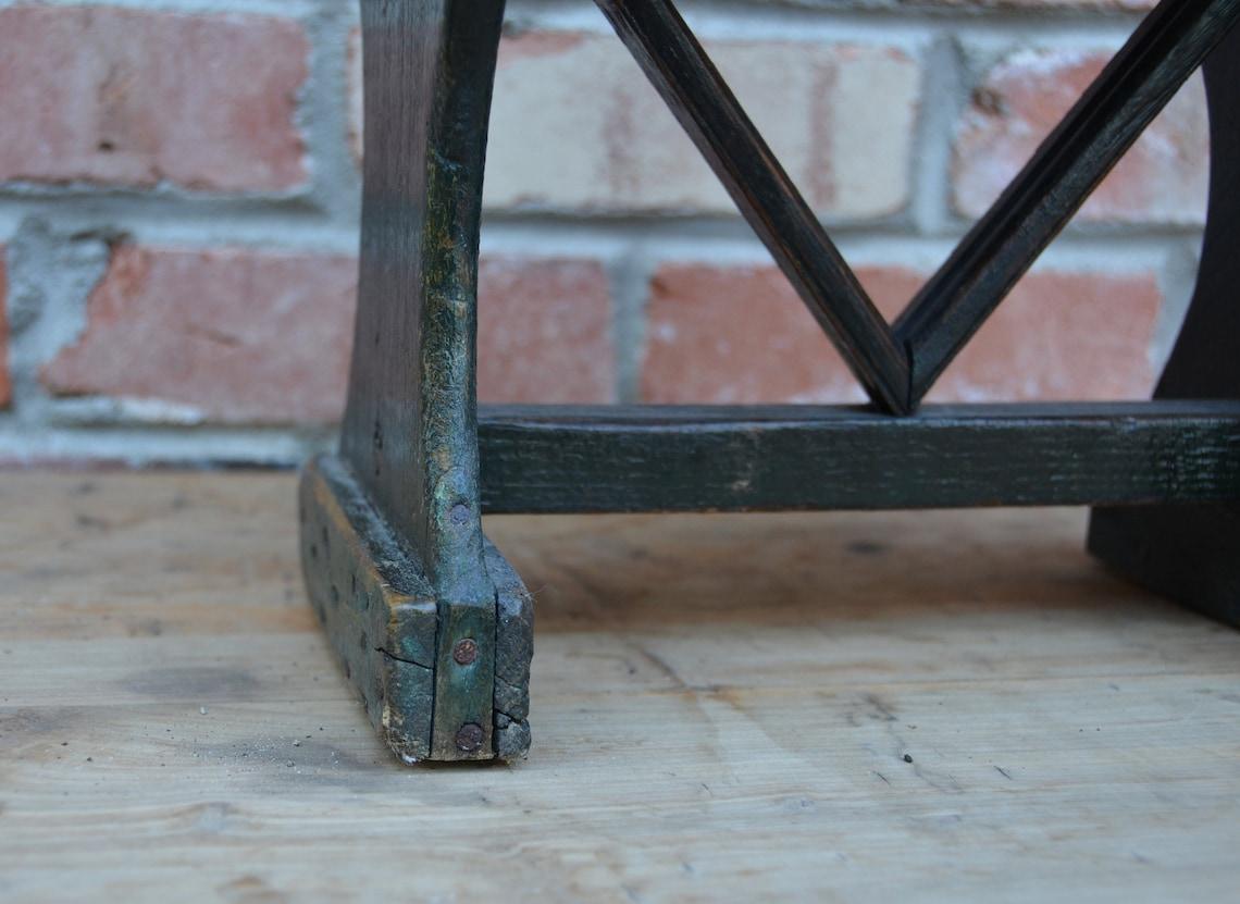 Vintage Footstool - Green Chippy Paint - Primitive Footstool - Handmade Stepping Stool