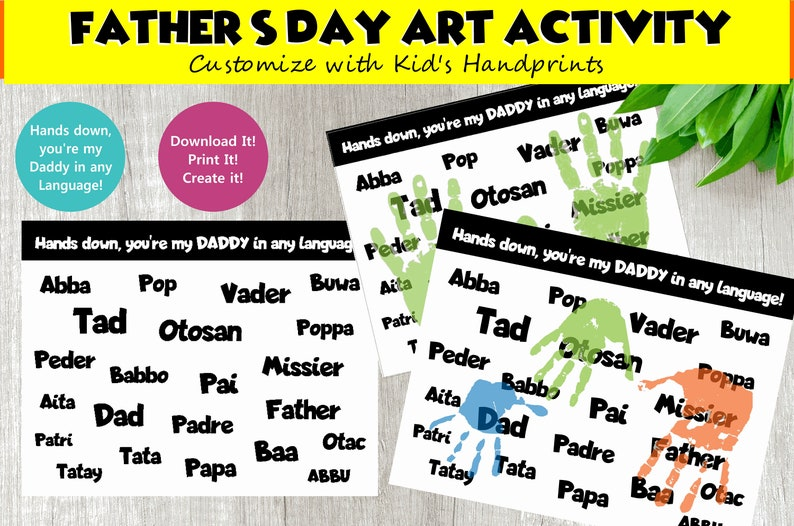 Fathers Day Craft for Kids  DIY Art Activity Hand Print Craft image 0
