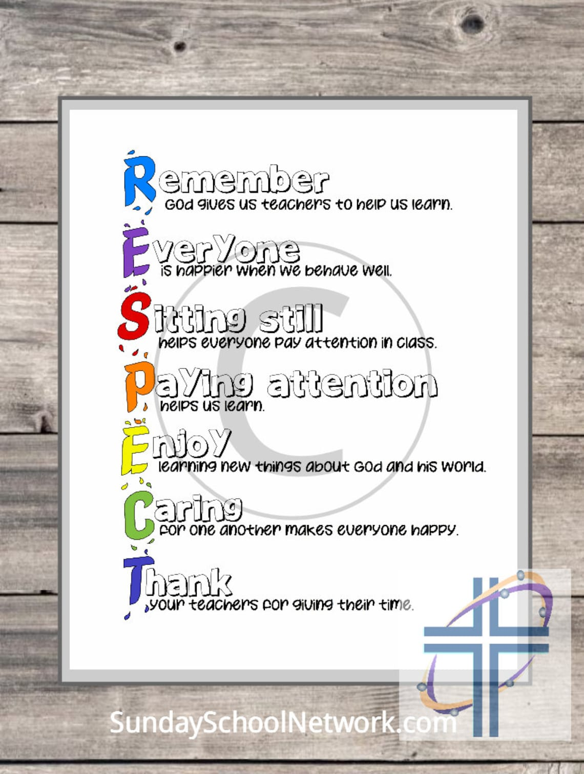 Teach RESPECT Christian wall art print
