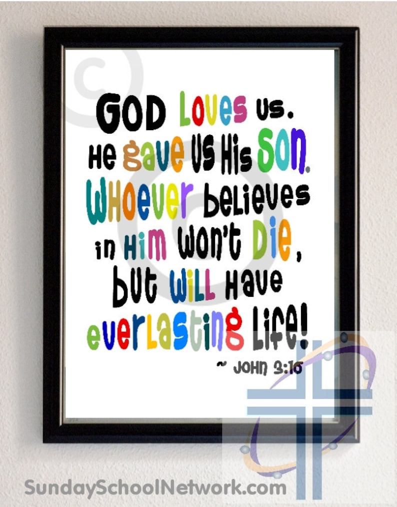 John 3:16 Printable Bible Poster Scripture Verse Kids image 0