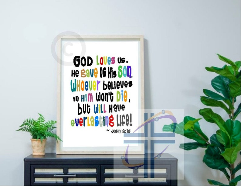 Printable Classroom Poster of John 3:16 for Kids Scripture image 3