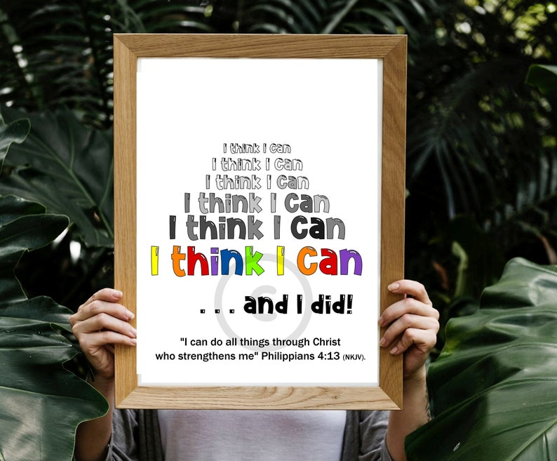 I Think I Can Growth Mindset Classroom Motivational Poster image 0