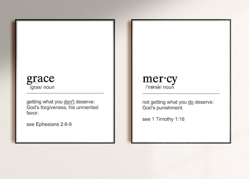 Bible Definitions GRACE and MERCY  Christian Gifts  image 0