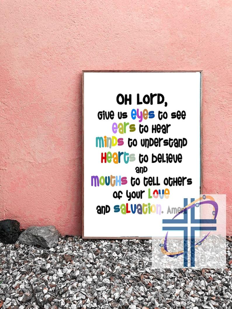 Prayer for Children Printable Poster Sunday School Wall Art image 0