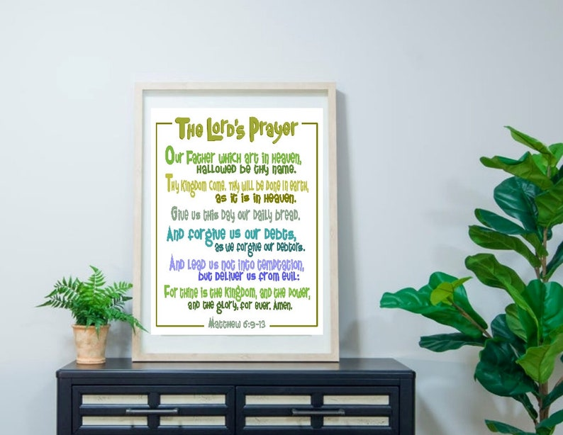 Lord's Prayer Bible Poster Our Father Wall Art Christian image 3