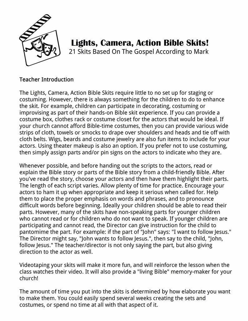 Bible Skits, Lights, Camera, Action, Gospel of Mark, Children's Ministry,  Plays for Bible Clubs, Home-school, Sunday School, Christian Skits