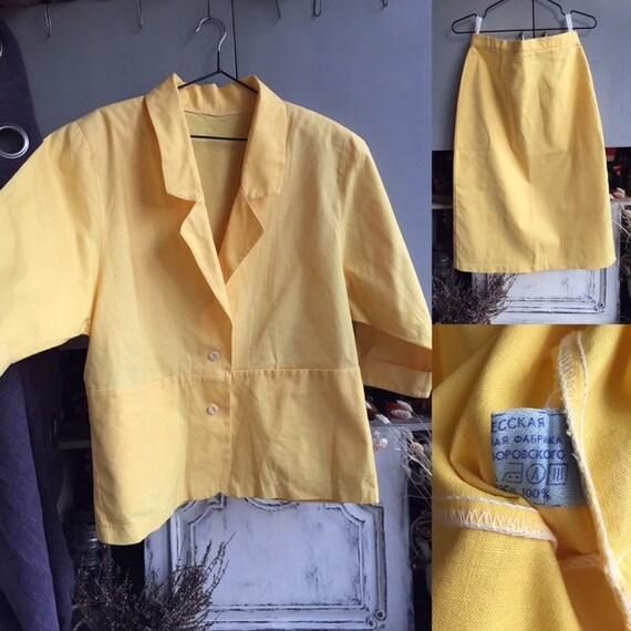 Vintage 80s womens linen suit blazer/skirt, non we
