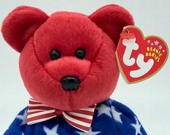 TY McDonald/'s TEENIE BEANIE Baby GLORY BEAR 4th of July Statue of Liberty FLAG