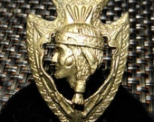 c.1920 Brass Scarf Closure in Shape of an Arrowhead with Native American Indian In Profile. Badge, Pendant, Girl Scouts