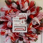 Luxury Handmade Decorative Christmas Believe in the Magic Deco Mesh Wreath - Santa Please stop here - red black and white