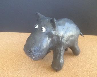 Hippopotamus clay sculpture