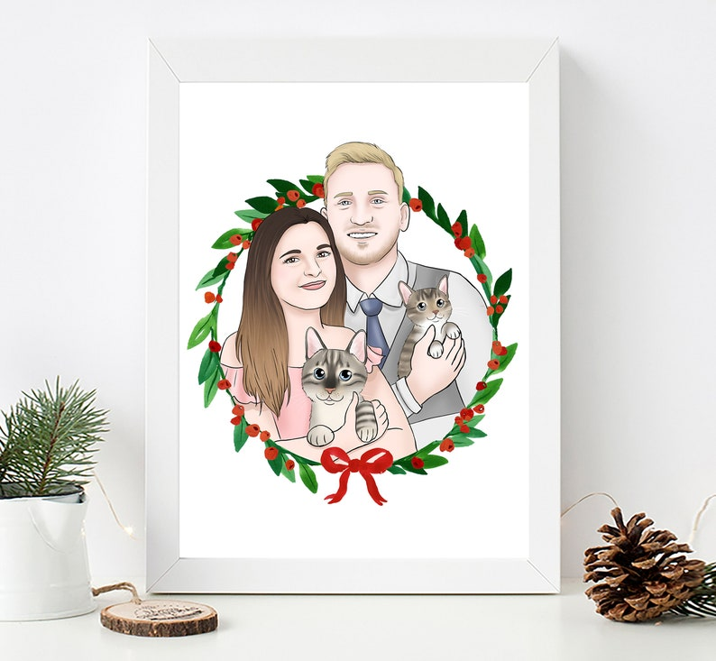 Custom Personalized Family Pet Portrait Anniversary Christmas image 0