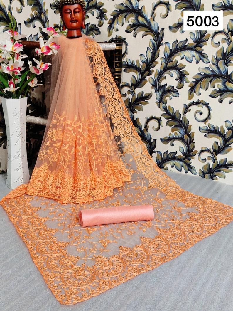Heavy Women soft net saree with hain stitch Work With Beautiful Diamond Work and Pandadi Work