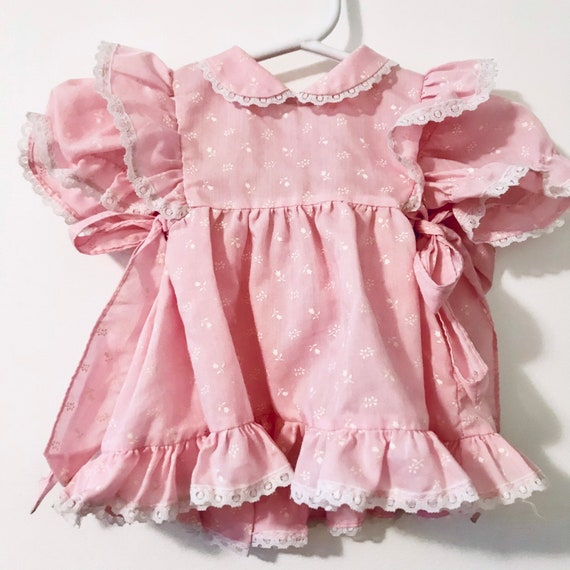 Pink Ruffled Infant Girl Dress | 1980's Vintage