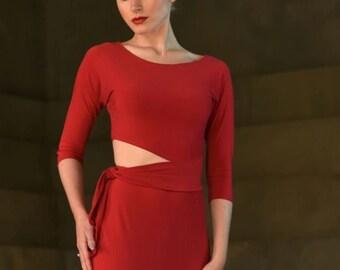 Crop dance top, bellydance top, salsa top, latin top, tango top, batwings sleeves SM6030 by StudioMoscow