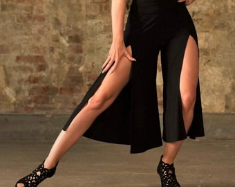 Black Dance Culottes with front slits  great for tango or bachata SM5111 by StudioMoscow