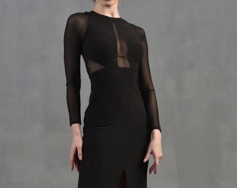 Beautiful tango dress with sheer mesh panels SM8017 by StudioMoscow