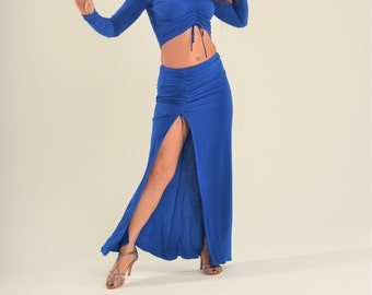 Bellydance skirt with ruched detail and deep slit, oriental dance skirt SM7902 017
