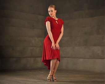 Red tango dress with key hole front,  butterfly sleeves , tailed skirt, pin up dress, latin dance dress SM8031 195