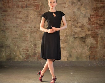 Red tango dress with key hole front,  butterfly sleeves , tailed skirt, pin up dress, latin dance dress SM8031 037