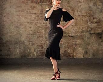 Dramatic  black tango dress , midi dress, mermaid skirt dress, cold shoulder dress, party dress SM8030 037 by StudioMoscow