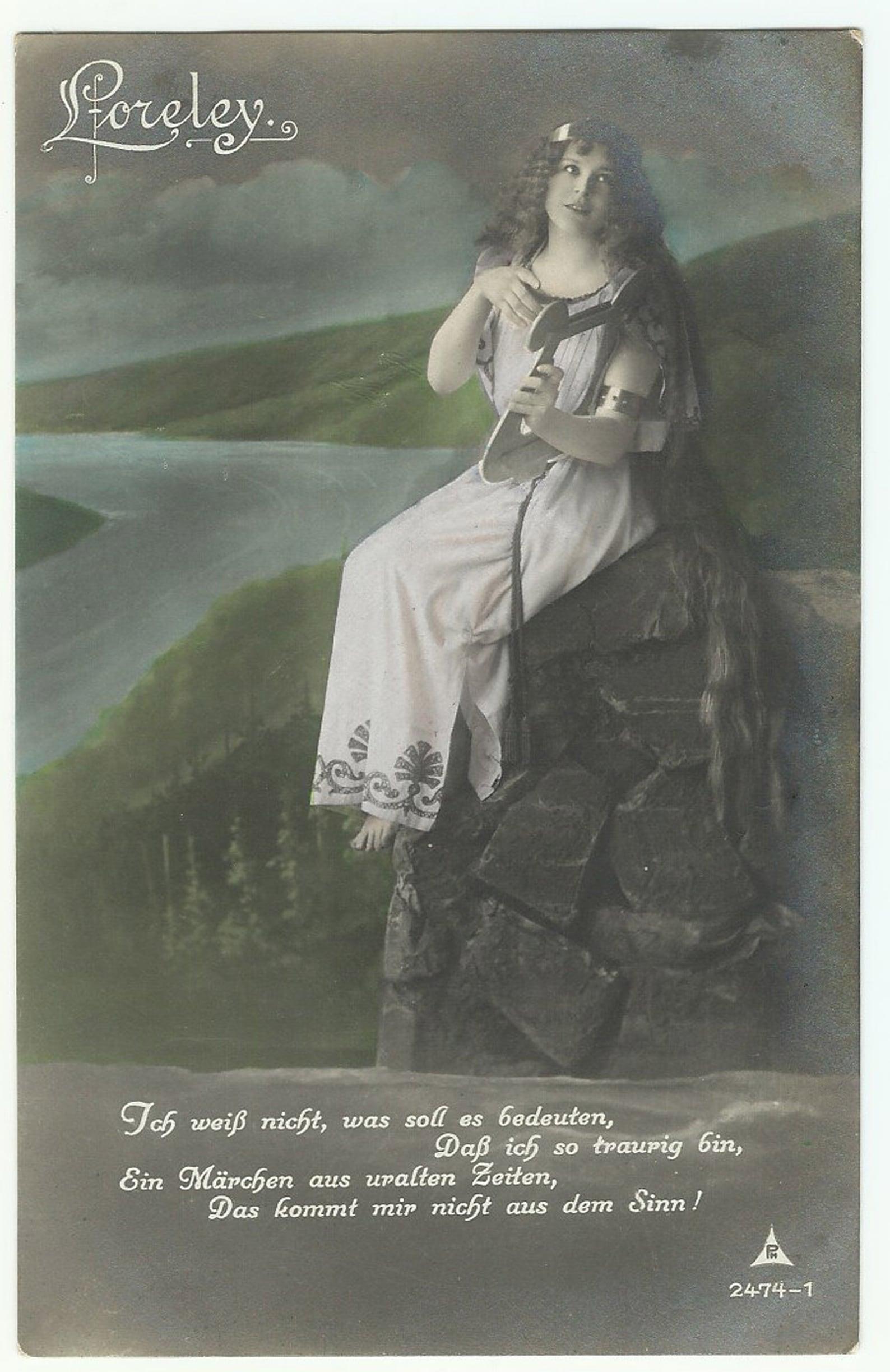 Loreley on the Cliff Heinrich Heine Poem Vintage German Postcard
