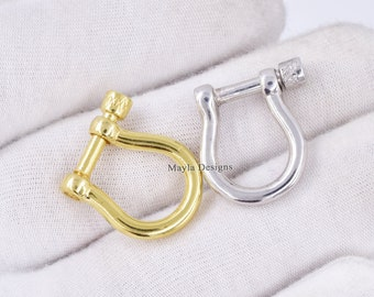 Solid Silver Shackle Lock 925 Sterling Silver Handmade Shackle Lock Fine Jewelry Solid Sterling SIlver Shackle Lock