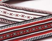 Band ribbon lines red black jacquard trim 60mm (2.36 inch), boho style, embroidered belt, tapes, Jacquard ribbons, Ruban, decorative