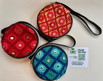 Handmade Embroidered Mirror Work Purse And Coin Pouch