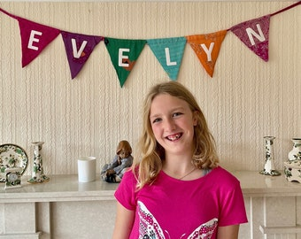 Upcycled  Sari Custom Bunting With Your Personalised Message On A Banner From 100% Recycled Preloved Sari