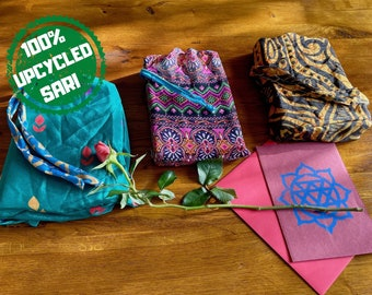 Upcycled Gift Bags Handmade From 100% Recycled Pre-loved Vintage Sari For Wedding Gift Wrap and Christmas Presents