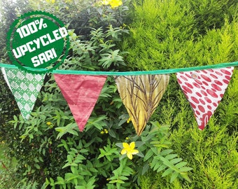 Upcycled Handmade Bunting Made From Pre Loved Vintage  Sari Fabric  For Wedding Birthday and Celebration Indoor and Outdoor