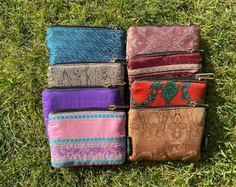 Upcycled Sari Purse And Coin Pouch Handmade from 100% Recycled Vintage  Preloved  Sari For A Slow Fashion Gift