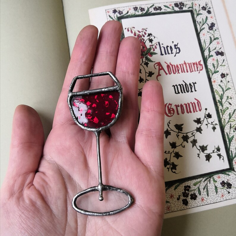Wine pin Stain glass jewelry Glass of Wine brooch Gift for girlfriend