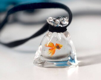 Lampwork pendant, Gold fish pendant necklace, Glass statement necklace pendant, Lampwork necklace, Unique gift for her