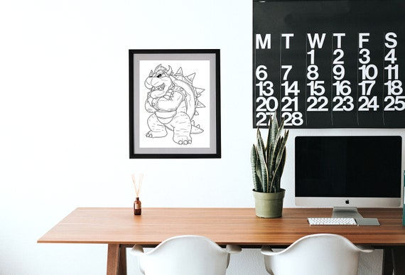 Bowser Digital Downloads Super Mario Bros Coloring Pages Nerdy Minimalistic Art Office Art Gaming