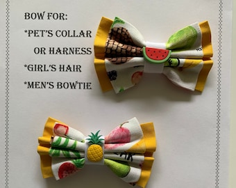 Fruit bow for pets collar or harness, or girl's hair tie or hair clip, or bow for men's neck strap with charm