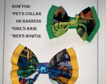 Dinosaur BOW for pets collar or harness, or girl's hair tie or hair clip, or BOW for men's neck strap with charm