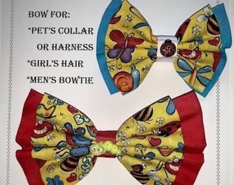 Bugs BOW for pets collar or harness, or girl's hair tie or hair clip, or BOW for men's neck strap with charm