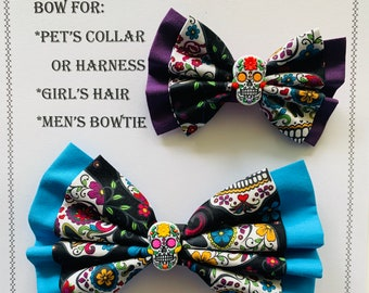 Sugar Skull / Day Of The Dead Bow for Pet's Collar or Harness, Girl's Hair Clip or Hair Tie, or a Men's Neck Strap with Charm